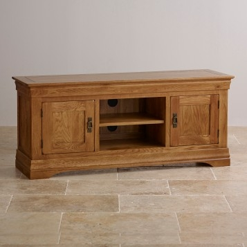 Stunning Deluxe Rustic Oak TV Stands With Regard To French Farmhouse Rustic Solid Oak Widescreen Tv Stand Oak (View 20 of 50)