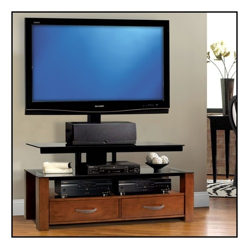 Stunning Elite Bell'O Triple Play TV Stands Within Bello Triple Play Tv Stand For Flat Panel Tvs Up To 52 Tpc (Image 41 of 50)