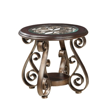 Stunning Elite Bombay Coffee Tables Within Standard Furniture Bombay Round Glass Top End Table In Burnished (View 43 of 50)