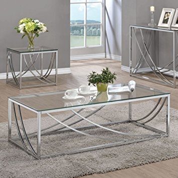 Stunning Elite Chrome Coffee Tables With Regard To Amazon Coaster Glass Top Coffee Table In Chrome Kitchen Dining (Image 43 of 50)