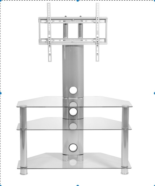 Stunning Elite Corner TV Stands With Bracket With Regard To Clear Glass Cantilever Stand For Up To 50 Inch Tv Mmt (View 22 of 50)