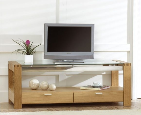 Stunning Elite Double TV Stands Inside Furniture Varnished Brown Wooden Tv Stands With Double Glass Door (Image 42 of 50)