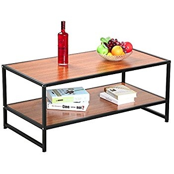 Stunning Elite Large Rectangular Coffee Tables Inside Amazon Topeakmart 2 Tier Brown Square Wooden Small Coffee (Image 35 of 40)