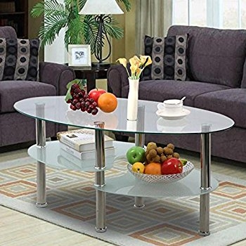 Stunning Elite Oval Glass Coffee Tables Intended For Amazon Walker Edison Glass Oval Coffee Table Kitchen Dining (View 29 of 50)