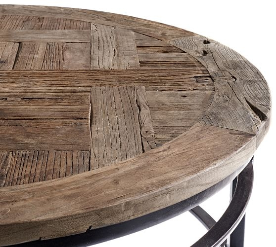 Stunning Elite Round Pine Coffee Tables Regarding Parquet Reclaimed Wood Round Coffee Table Pottery Barn (View 34 of 50)