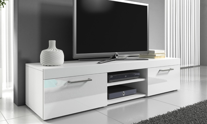 Stunning Elite White Gloss TV Cabinets For Mambo Gloss Tv Cabinet Groupon (Image 43 of 50)
