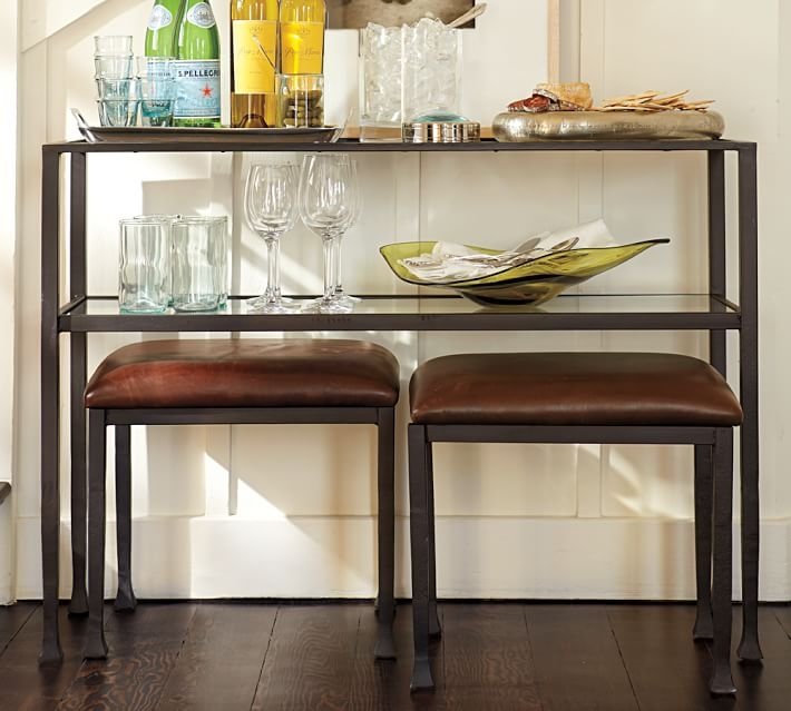 Stunning Famous Antique Glass Pottery Barn Coffee Tables Inside Tanner Console Table Bronze Finish Pottery Barn (Image 43 of 50)