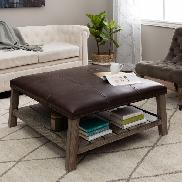 Stunning Famous Brown Leather Ottoman Coffee Tables Within Round Leather Coffee Table (View 23 of 50)
