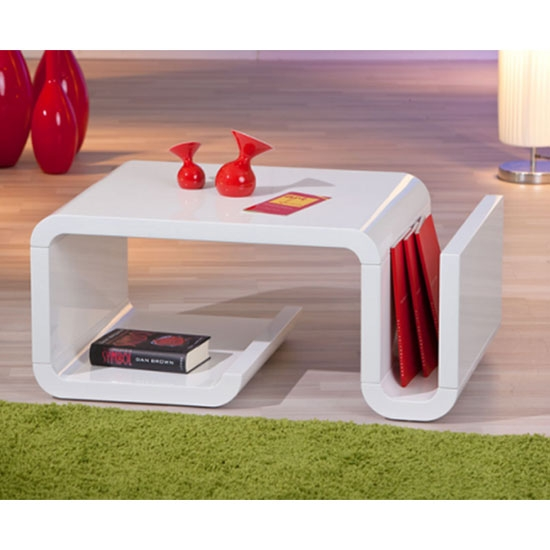 Stunning Famous Coffee Tables With Magazine Rack Inside High Gloss Coffee Table With Magazine Rack In White (View 10 of 50)