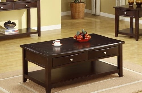 Stunning Famous Espresso Coffee Tables With Regard To Amazon Poundex Coffee Table With Storage Drawers In Espresso (Image 43 of 50)