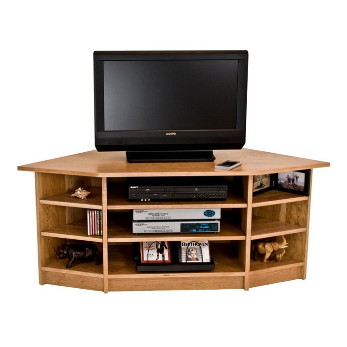 Stunning Famous Walnut Corner TV Stands Throughout Solid Wood Corner Tv Stand In Cherry Maple Walnut Oak Hardwood (Image 47 of 50)