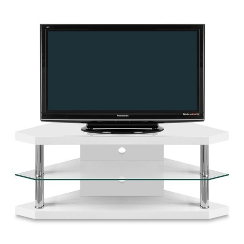 Stunning Famous White Gloss Corner TV Stands Intended For Bravo Corner Tv Stand Atlantic Shopping (View 3 of 50)