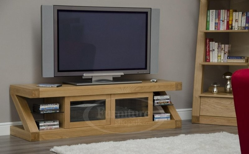 Stunning Famous Widescreen TV Cabinets Regarding Z Oak Designer Widescreen Tv Stand Designer Furniture Ltd (View 10 of 50)