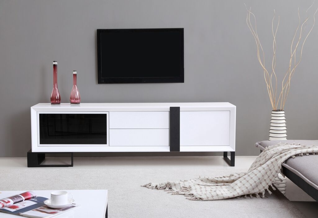 Stunning Fashionable BModern TV Stands For Entertainer Tv Stand High Gloss White B Modern Modern Manhattan (Image 45 of 50)