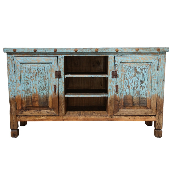 Stunning Fashionable Blue TV Stands Throughout Flat Screen Tv Standentertainment Center Blue Painted Western (View 7 of 50)
