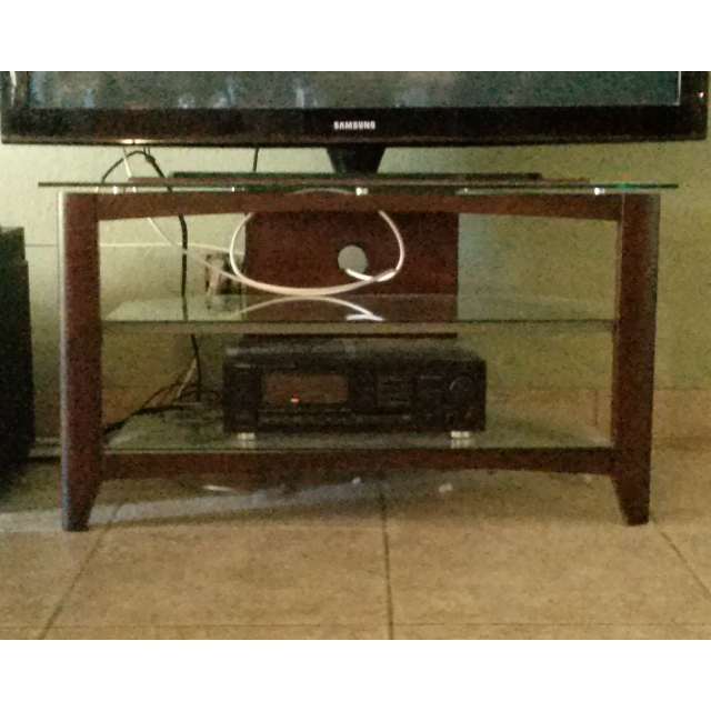 Stunning Fashionable Dark Wood TV Stands With Dark Wood Tv Stand W Glass Shelves Furniture Home On Carousell (View 36 of 50)