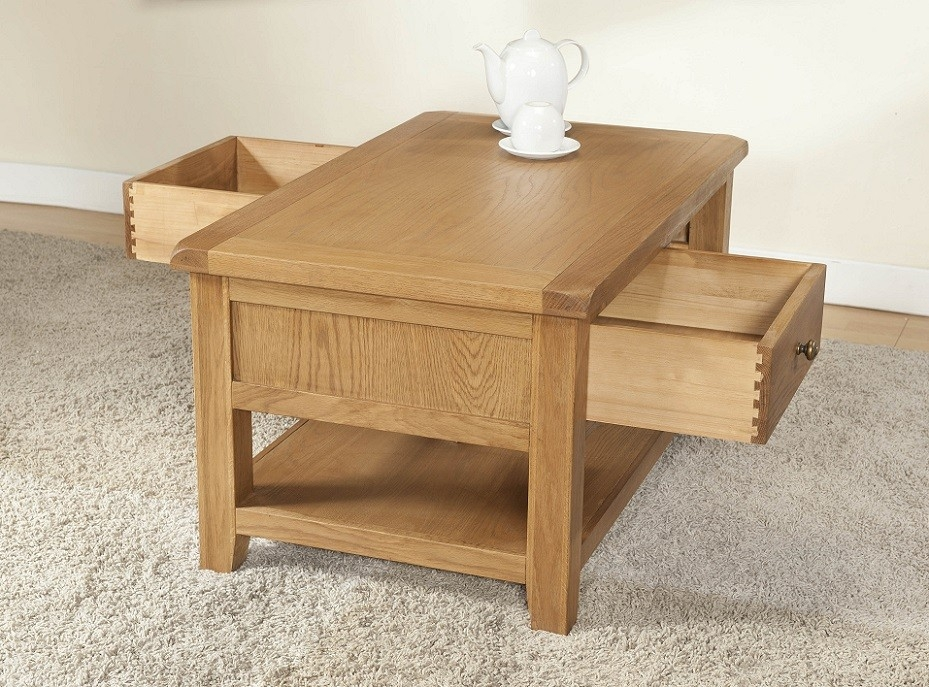 Stunning Fashionable Light Oak Coffee Tables With Drawers Inside Cotswold Rustic Light Oak Coffee Table With Drawers Oak Furniture Uk (View 24 of 40)