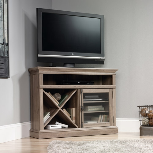 Stunning Fashionable Light Oak Corner TV Stands In Sauder Harbor View Hutch Salt Oak Walmart (View 42 of 50)