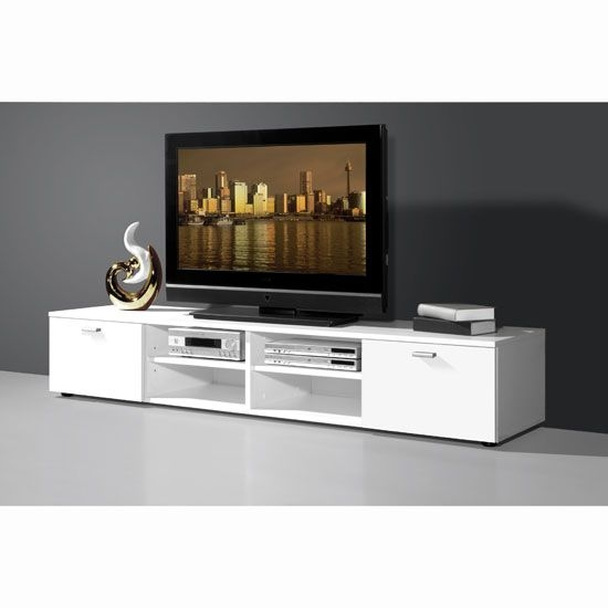 Stunning Fashionable Long TV Stands Furniture In Modern White Low Plasma Tv Stand With 4 Open Compartments (Image 40 of 50)