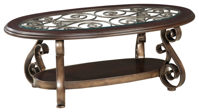 Stunning Fashionable Oval Glass And Wood Coffee Tables With Standard Furniture Bombay Oval Glass Top Cocktail Table (Image 42 of 50)