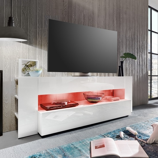 Stunning Fashionable Red Gloss TV Stands With Regard To Vista Tv Stand In White With High Gloss Fronts And Led (Image 43 of 50)
