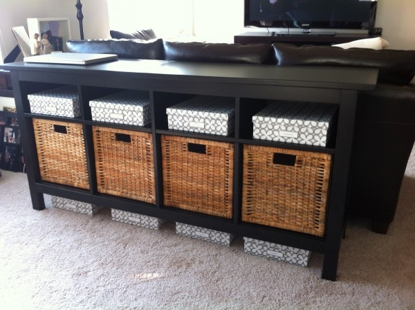 Stunning Fashionable TV Stands With Storage Baskets Throughout Artistic Ikea Black Entry Table With Square Wicker Storage Basket (View 31 of 50)