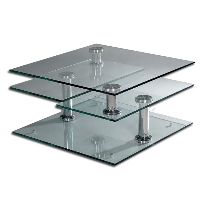 Stunning Fashionable Unusual Glass Coffee Tables Throughout Modern Glass Square Coffee Table Modern Minimalist Industrial (View 12 of 40)