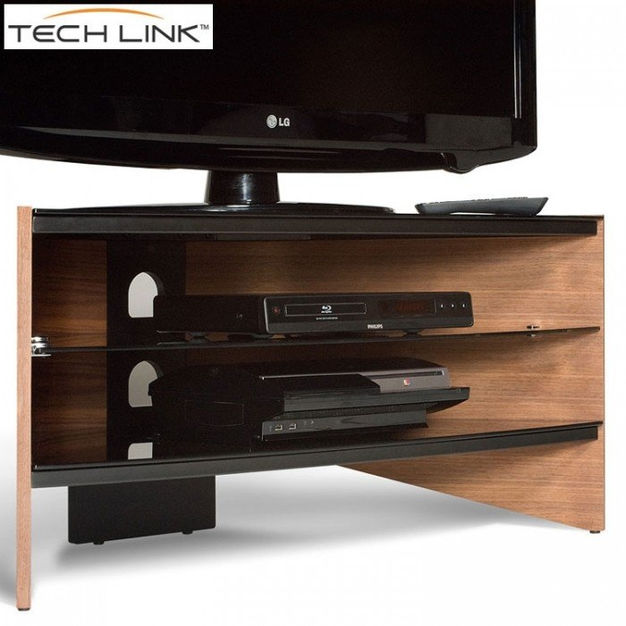 Stunning Favorite Techlink TV Stands Sale Throughout Techlink Rv100w Riva Corner Tv Stand In Walnut And Black Glass (View 23 of 50)