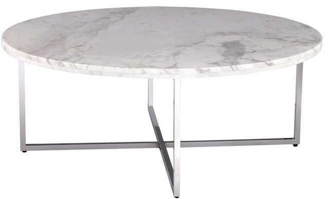 Stunning Favorite White Marble Coffee Tables Inside Caridad Round Marble Coffee Table Contemporary Coffee Tables (View 3 of 50)