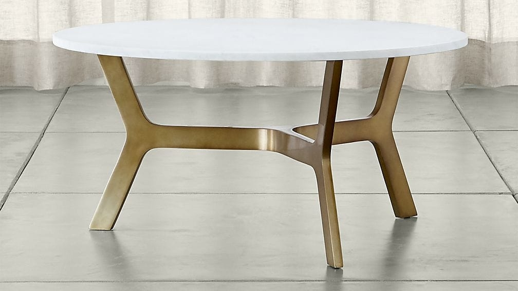 Stunning Favorite White Marble Coffee Tables Throughout Elke Round Marble Coffee Table With Brass Base Crate And Barrel (View 39 of 50)