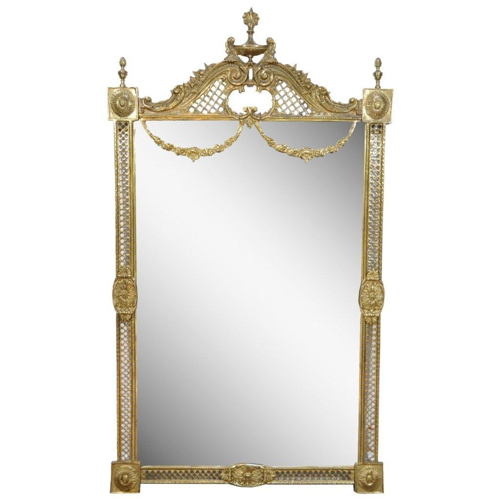 Stunning French Neoclassical Style Bronze Draped Acanthus And Urn Throughout French Wall Mirrors (View 3 of 20)