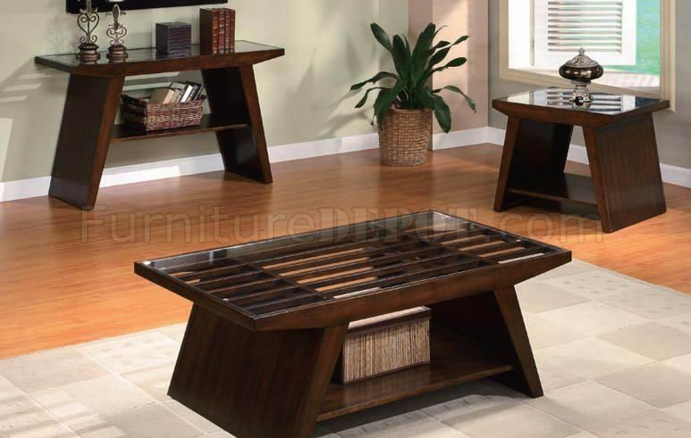 Stunning High Quality Dark Brown Coffee Tables Regarding Dark Brown Finish Modern Coffee Table Wclear Glass Top (View 20 of 50)