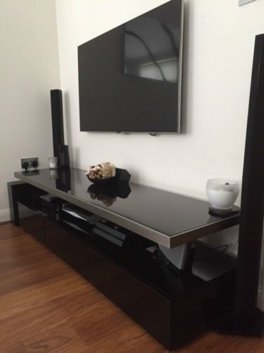 Stunning High Quality Dwell TV Stands Intended For Dwell Floating Shelf Tv Stand Unit Black Black Glass And In (Image 44 of 50)