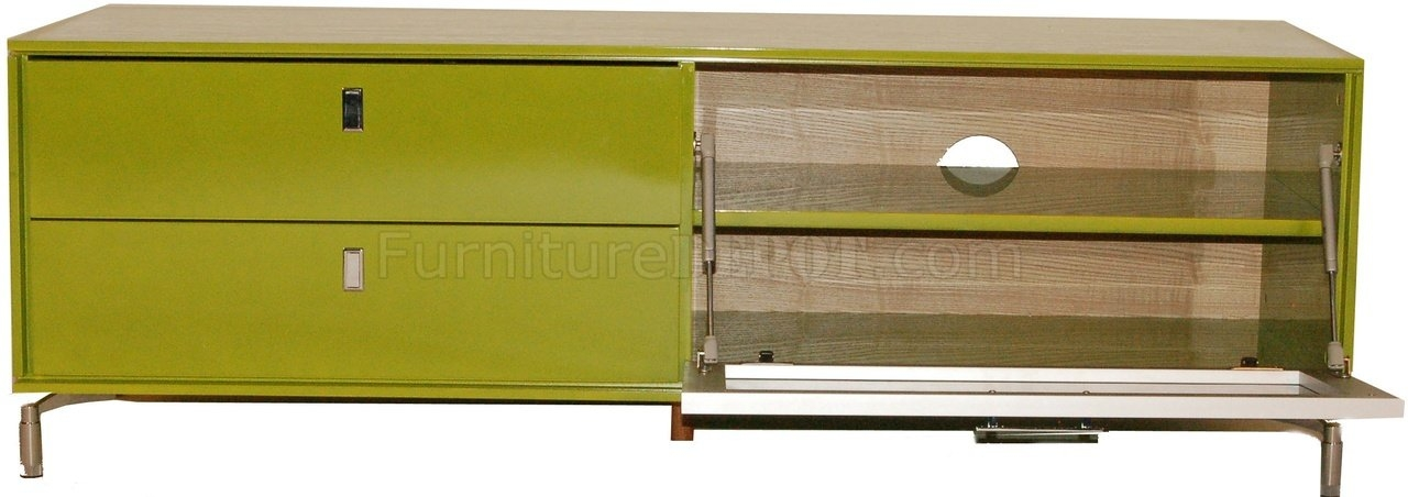 Stunning High Quality Green TV Stands Throughout High Gloss Finish Modern Tv Stand Wpull Down Glass Door (Image 44 of 50)