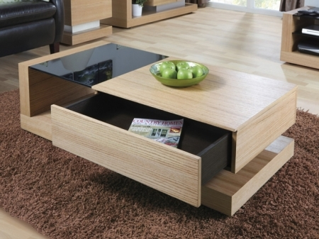 Stunning High Quality Oak And Glass Coffee Tables Throughout Jual Cube Oak Black Glass 1 Drawer Coffee Table Coffee Tables (View 31 of 50)
