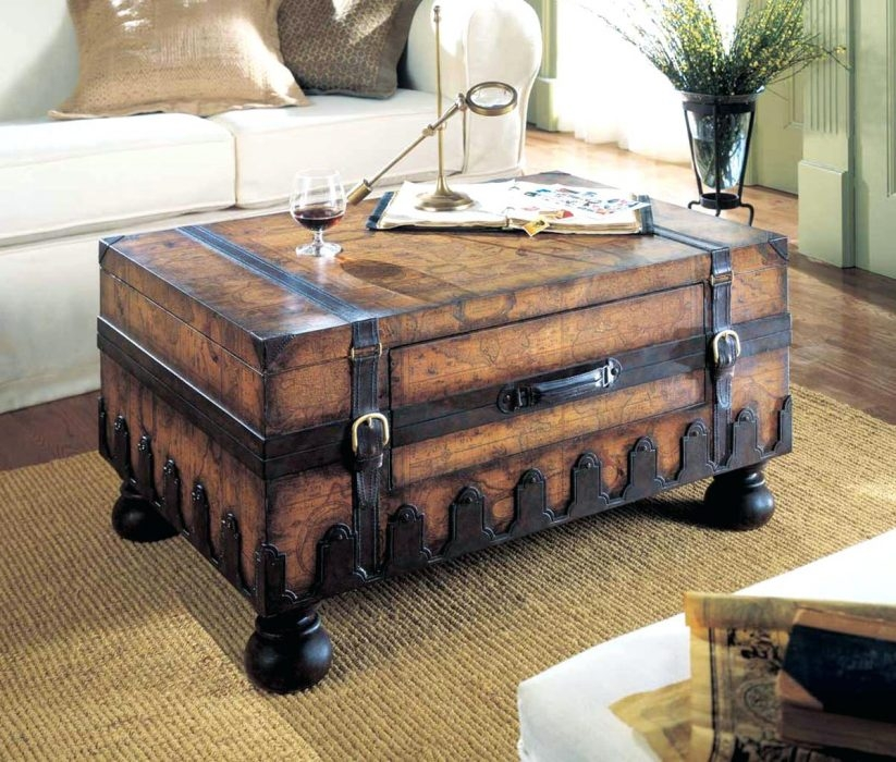 Stunning High Quality Trunk Chest Coffee Tables Intended For Metal Coffee Table Creative Of Rustic Trunk Coffee Chest Ebay (View 28 of 50)