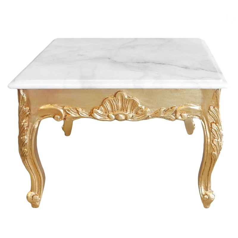 Stunning Latest Baroque Coffee Tables Intended For Coffee Table Baroque Style Gold Wood With Leaf And White Marble Top (Image 44 of 50)