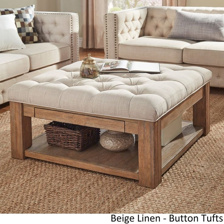Stunning Latest Beige Coffee Tables With Beige Storage Ottoman (Image 36 of 40)