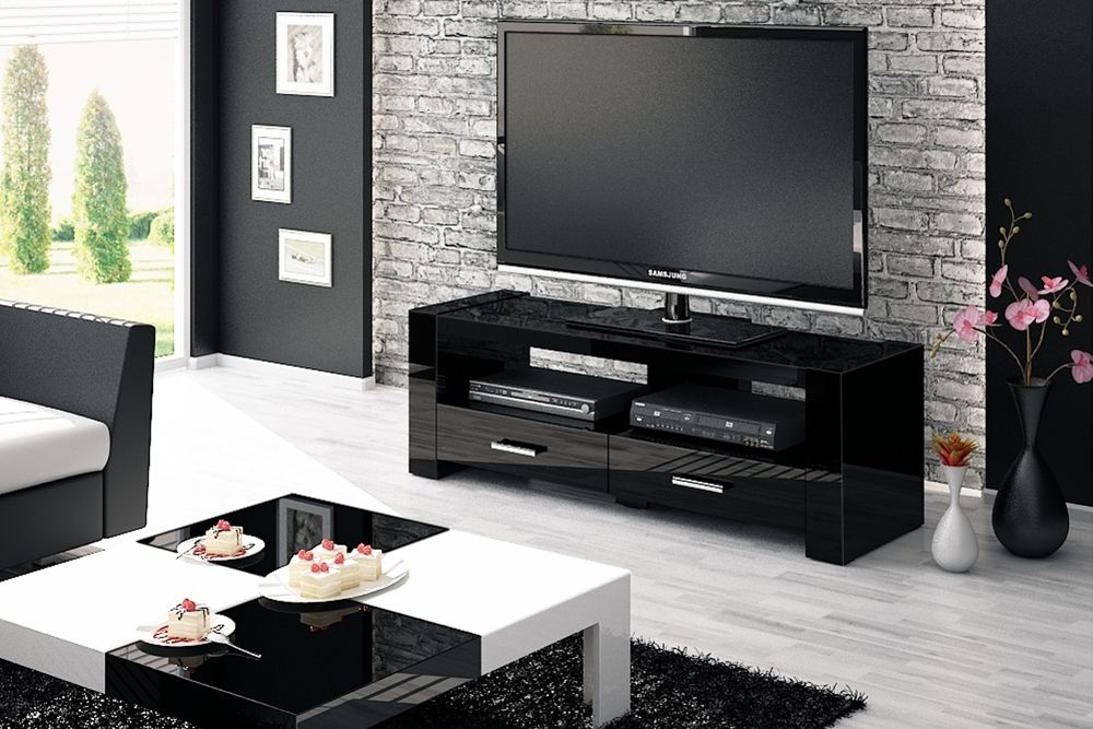 Stunning Latest Black TV Cabinets Within Monaco 2 Black Tv Stand (Image 46 of 50)