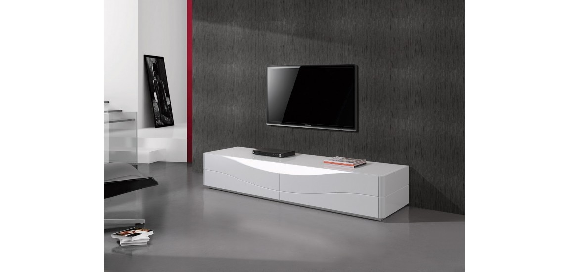 Stunning Latest Contemporary White TV Stands With Regard To Zao Contemporary Tv Stand In White Lacquer Finish Jm (View 3 of 50)