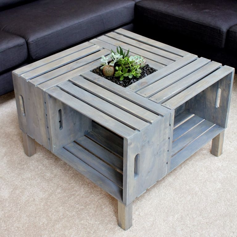 Stunning Latest Square Shaped Coffee Tables Throughout Furniture Modern Square Shape Crate Diy Coffee Table Ideas Plus (View 2 of 50)