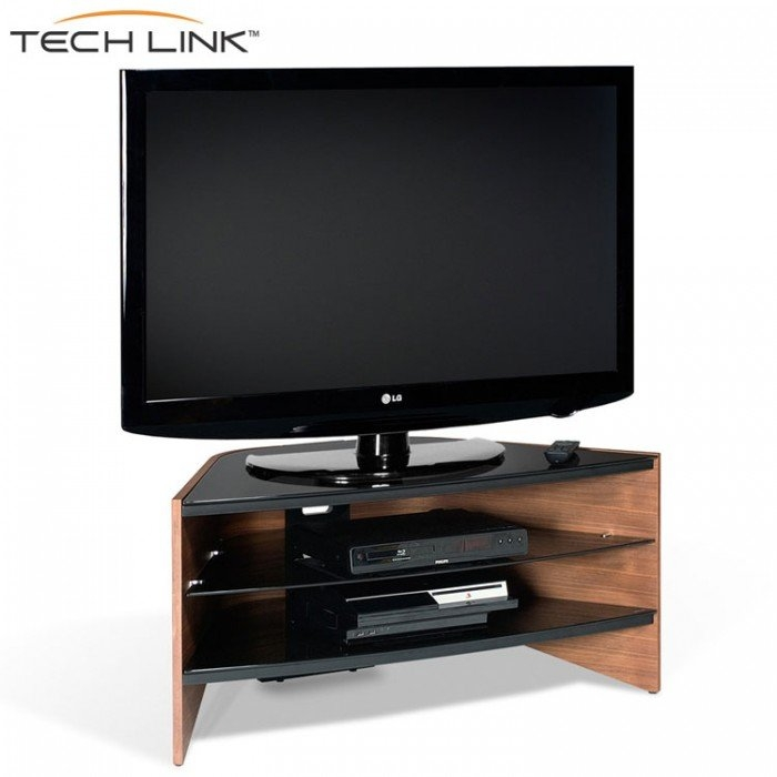Stunning Latest Techlink Corner TV Stands Throughout Techlink Rv100w Riva Corner Tv Stand In Walnut And Black Glass (View 5 of 50)