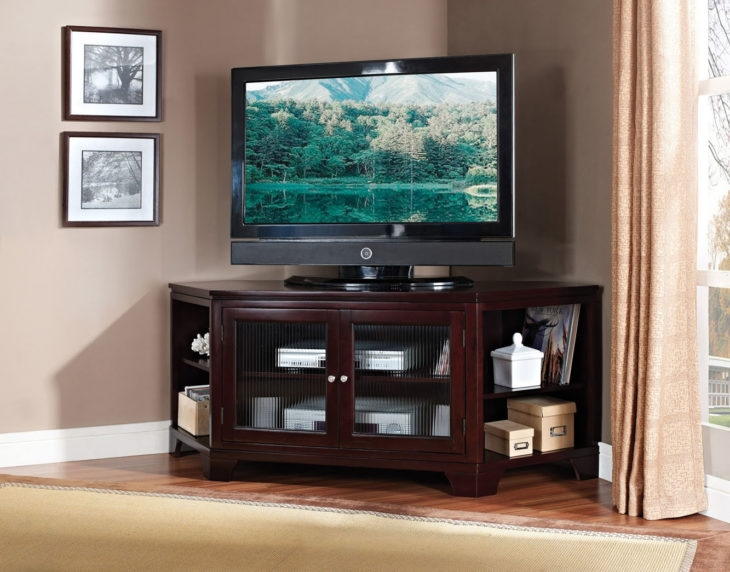 Stunning New Dark Brown Corner TV Stands Throughout Tv Stands Extraordinary Walmart Corner Tv Stands 2017 Design (View 12 of 50)
