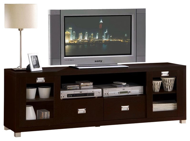 Stunning New Expresso TV Stands With Contemporary Commerce Espresso Finish Tv Stand Cabinet (Image 43 of 50)