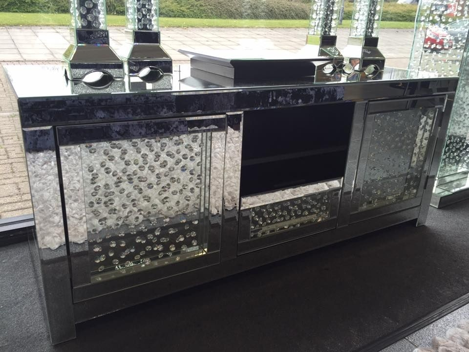 Stunning New Mirrored TV Cabinets Intended For Mirrored Glass Floating Crystal Tv Cabinet Special Offer (View 12 of 50)