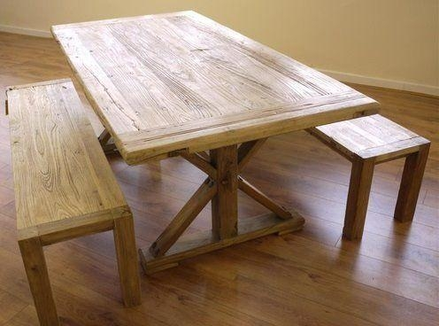 Stunning New Rustic Elm Kitchen Dining Table & 2 Benches – Uk Within Dining Tables And 2 Benches (Image 20 of 20)