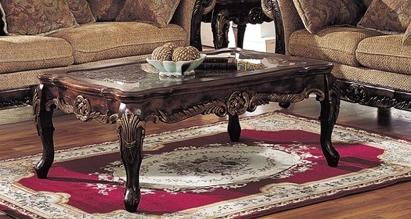 Stunning Popular Bordeaux Coffee Tables Intended For Bordeaux Marble Top Gold Brushed Coffee Table In Brown Finish (Image 43 of 50)