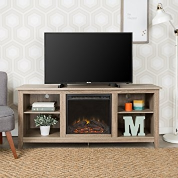 Stunning Popular Grey TV Stands Within Amazon New 58 Inch Wide Ash Grey Tv Stand With Fireplace (Image 46 of 50)