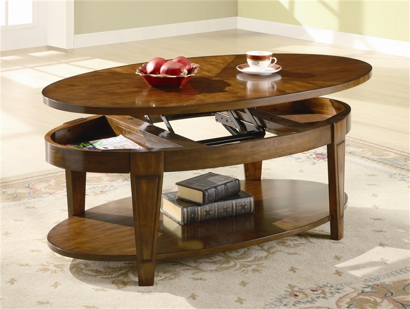 Stunning Popular Lift Top Coffee Tables Pertaining To Oval Lift Top Coffee Table In Cherry Finish Coaster (View 31 of 50)