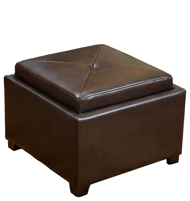 Stunning Preferred Brown Leather Ottoman Coffee Tables With Storages With Durban Tray Top Storage Brown Leather Ottoman Coffee Table (Image 35 of 40)